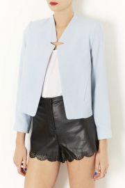 Topshop and39Romeoand39 Crepe Jacket in blue at Nordstrom