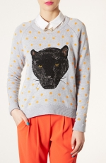 Topshop panther motif sweater at Nordstrom