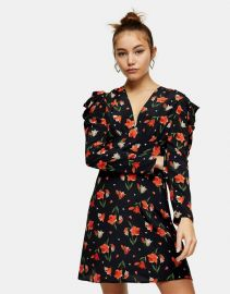 Topshop ruched waist mini dress in tulip print at Asos