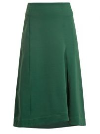 Topstitched knee-length A-line skirt at Matches