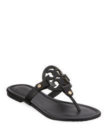 Tory Burch Miller Medallion Leather Flat Thong at Neiman Marcus