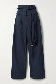 Tory Burch - Belted shell wide-leg pants at Net A Porter