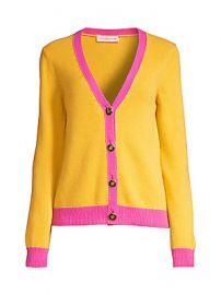 Tory Burch - Contrast-Trim Cashmere Cardigan Sweater at Saks Fifth Avenue