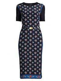 Tory Burch - Floral Belted Merino Wool Sheath Dress at Saks Fifth Avenue
