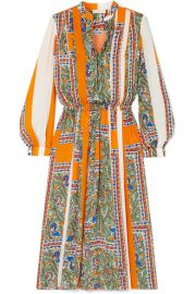 Tory Burch - Pleated printed voile midi dress at Net A Porter