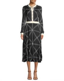 Tory Burch Anja Diamond-Stitch Midi Dress at Neiman Marcus