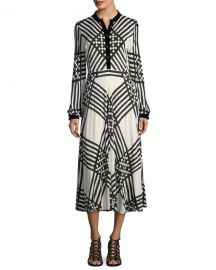 Tory Burch Anja Duchess Striped Satin Dress at Neiman Marcus