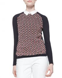 Tory Burch Carmine Feather-Stitch Sweater at Neiman Marcus