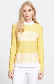 Tory Burch Edwina Embroidered Panel Merino Wool Collared Sweater at Nordstrom