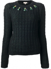 Tory Burch Embellished Grid Knit Sweater  - Francis Ferent at Farfetch