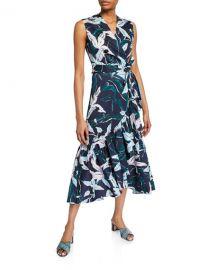 Tory Burch Floral-Print Sleeveless Flounce Wrap Dress at Neiman Marcus