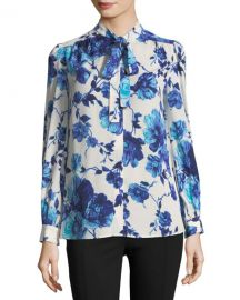 Tory Burch Kia Long-Sleeve Lili Floral Silk Bow Blouse at Neiman Marcus