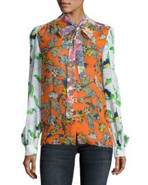 Tory Burch Kia Tie-Neck Graphic-Print Silk Blouse  Orange Multi at Neiman Marcus