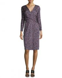 Tory Burch Long-Sleeve Confetti-Print Dress Red Pattern at Neiman Marcus