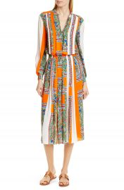 Tory Burch Long Sleeve Print Midi Dress   Nordstrom at Nordstrom
