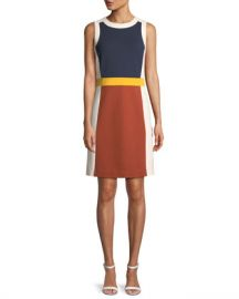 Tory Burch Mya Sleeveless Colorblock Ponte Dress at Neiman Marcus