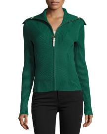 Tory Burch Noland Zip-Front Ribbed Cardigan  Norwood at Neiman Marcus