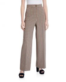 Tory Burch Plaid Wide-Leg Pants at Neiman Marcus