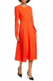 Tory Burch Pleat Detail Long Sleeve Crepe Dress   Nordstrom at Nordstrom