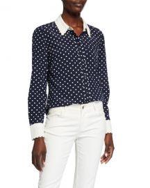 Tory Burch Polka Dot Scallop Edged Button-Down Silk Shirt at Neiman Marcus