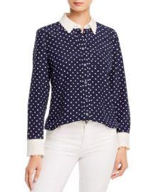 Tory Burch Scalloped-Edge Silk Dot-Print Shirt Women - Bloomingdale s at Bloomingdales