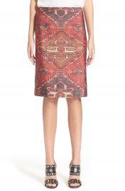 Tory Burch Stretch Wool Silk Tapestry Print Pencil Skirt at Nordstrom