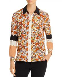 Tory Burch Studded Patchwork Silk Shirt at Bloomingdales