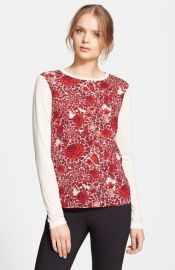 Tory Burch and39Roananand39 Floral Print Long Sleeve Tee at Nordstrom