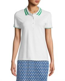 Tory Sport Pleated-Collar Short-Sleeve Polo Top at Neiman Marcus