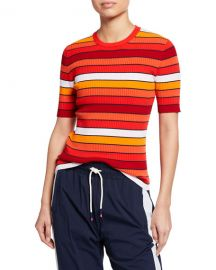 Tory Sport Tech Knit Striped Short-Sleeve Sweater at Neiman Marcus