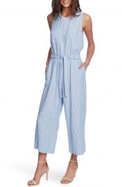 Tranquil Stripe Sleeveless Belted Jumpsuit at Nordstrom