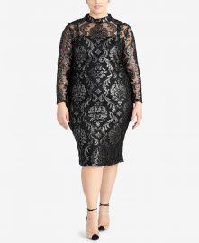 Trendy Plus Size Metallic Jacquard Dress at Macys