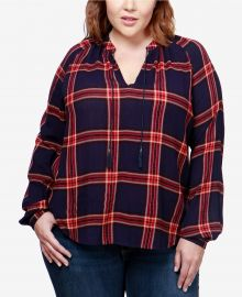 Trendy Plus Size Plaid Peasant Top by Lucky Brand at Macys