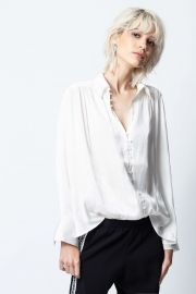 Trent Button-Front Satin Shirt by Zadig  Voltaire at Zadig and Voltaire