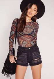 Tribal Print mesh bodysuit at Missguided