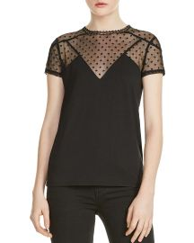 Tribor Sheer Mesh Detail Top at Bloomingdales