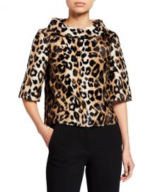 Trina Turk Faux Leopard Roll-Neck 1 2-Sleeve Top at Neiman Marcus