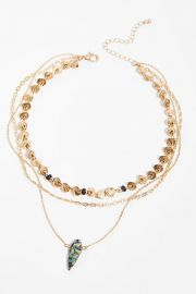 Triple wrap stone necklace at Free People