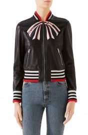 Trompe l\'Oeil Bow Nappa Leather Bomber Jacket at Nordstrom