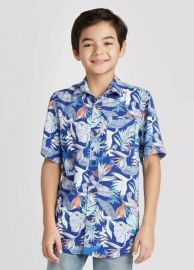 Tropical Print Short Sleeve Button-Down Shirt by Cat  Jack at Target