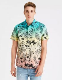 Tropical Print Short Sleeve Button up Shirt by American Eagle at American Eagle