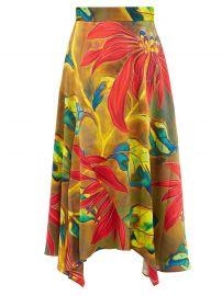 Tropical-print Silk-blend Cloqué Midi Skirt by Peter Pilott at Matches