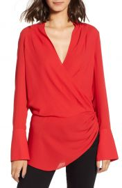 Trouv   Long Sleeve Wrap Blouse at Nordstrom