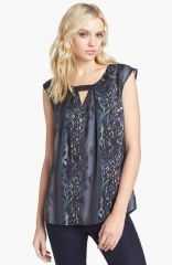 Trouv Front Keyhole Woven Top at Nordstrom