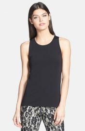 Trouvand233 Mixed Media Split Back Shell in Black at Nordstrom