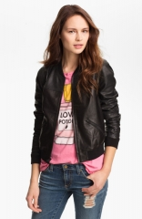 Trouvand233 Perforated Leather Bomber in black at Nordstrom