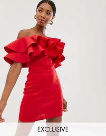 True Violet exclusive exaggerated frill bandeau mini dress in red   ASOS at Asos