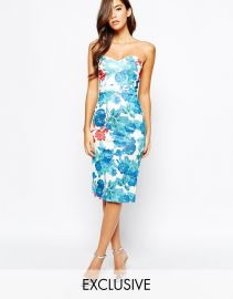 True Violet  True Violet Midi Dress With Sweetheart Neck In All Over Floral Print at Asos
