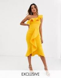 True Violet exclusive one shoulder frill bodycon dress in ochre at ASOS