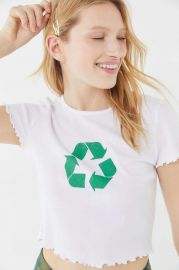 Truly Madly Deeply Recycle Lettuce Edge Cropped Tee by Urban Outfitters at Urban Outfitters